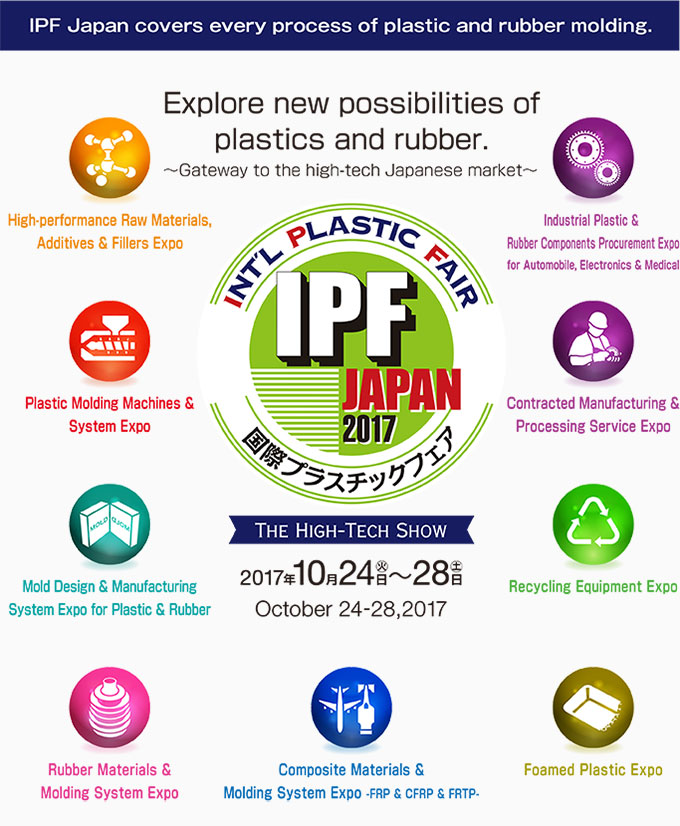 IPF JAPAN covers every process of plastic and rubber molding.